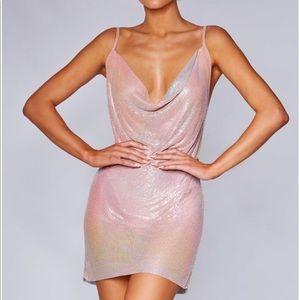 Meshki pink iridescent chainmail dress